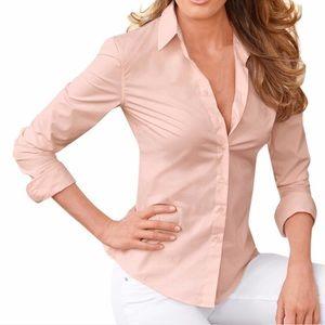 Ann Taylor Blush Button Up 3/4 Sleeve Blouse